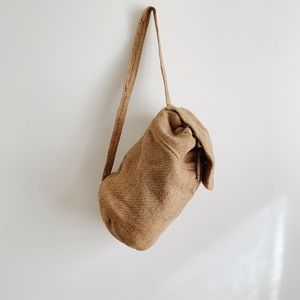Vintage natural jute rucksack backpack